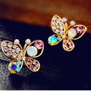 Jewelry - Colorful cystal Butterfly Small Earrings jewelry